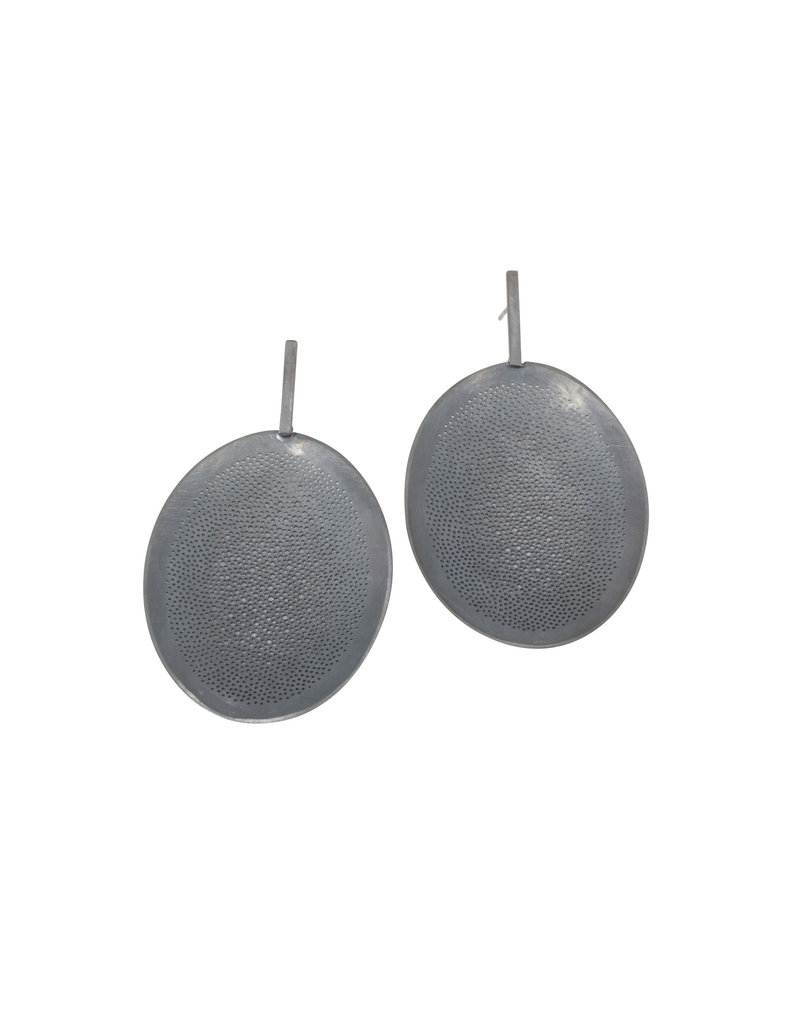 Perforated Drop Earrings in Oxidized Silver