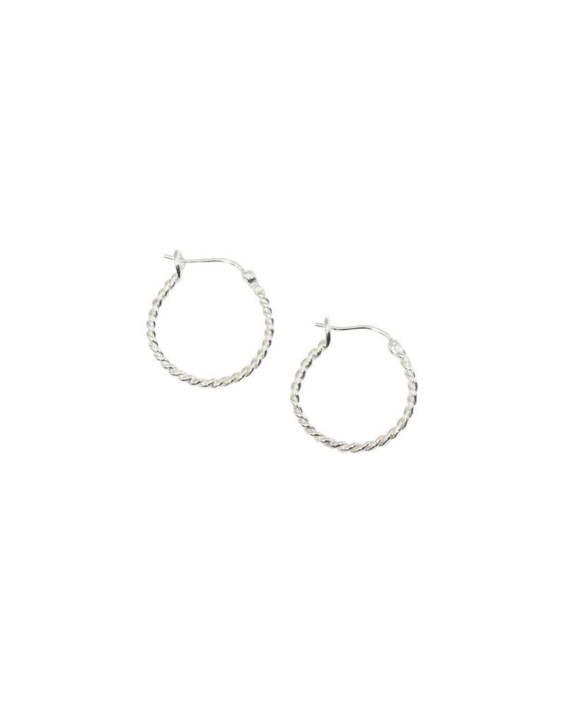 Small Twisted Wire Hoop Earrings in Silver