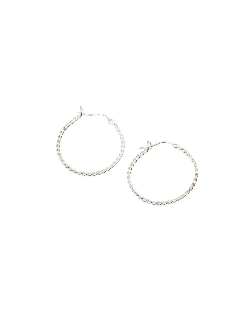 Medium Twisted Wire Hoop Earrings in Silver