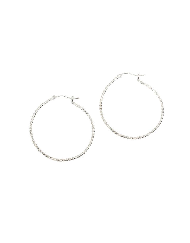 Large Twisted Wire Hoop Earrings in Silver
