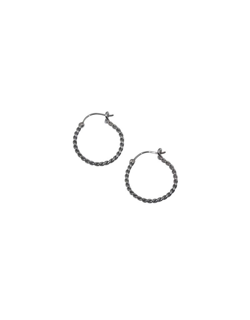 Small Twisted Wire Hoop Earrings in Oxidized Silver