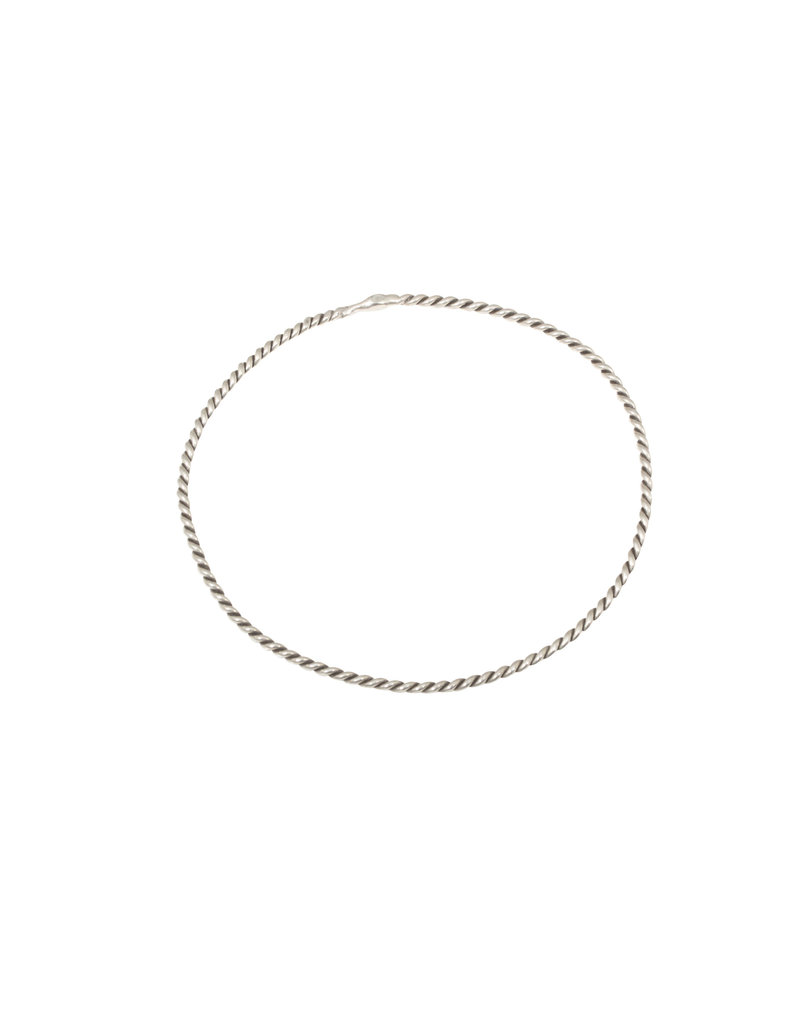 Small Twisted Wire Bangle Bracelet in Silver