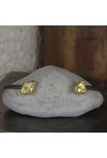 Trigon Diamond Cuff Bracelet in Oxidized Silver with 18k Yellow Gold