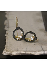 Pebble Single Link Earrings with White and Cognac Diamonds