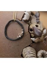 Pebble Medium Circle Pendant with White and Cognac Diamonds