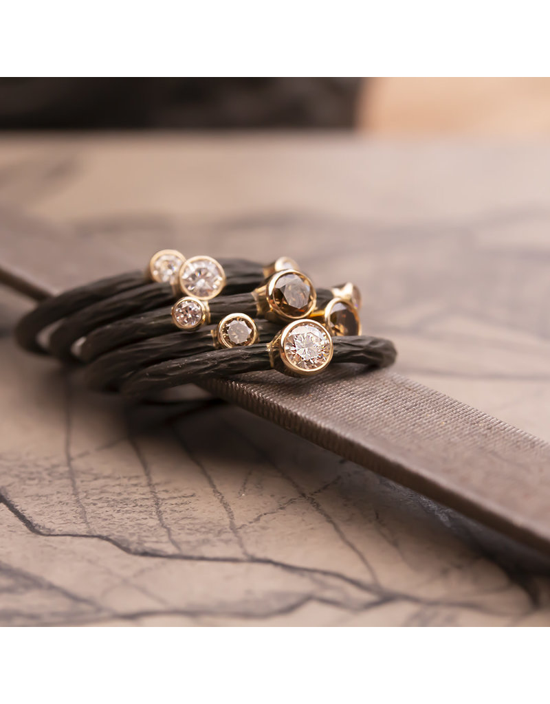 Pebble Stacking Ring with White and Cognac Diamond