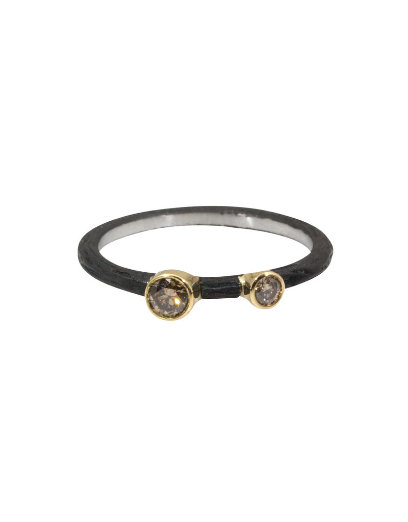 Pebble Stacking Ring with Cognac Diamonds
