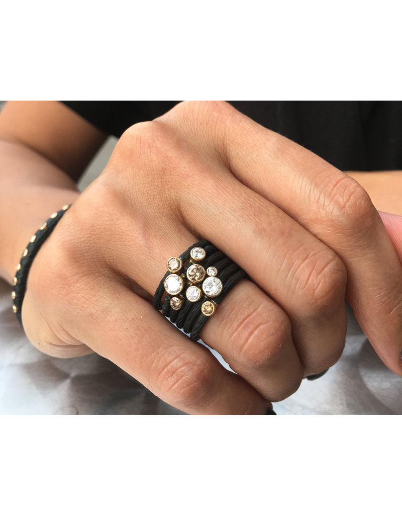 Pebble Stacking Ring with White Diamonds