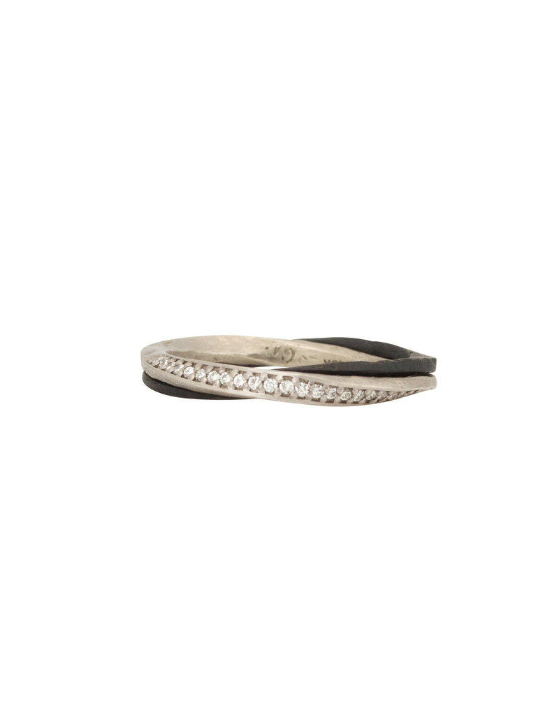 Narrow Eclipse Band with White Diamonds in 18k White Gold