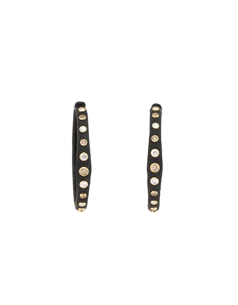 Pebble Bold Hinged Hoop Earrings with White and Cognac Diamonds