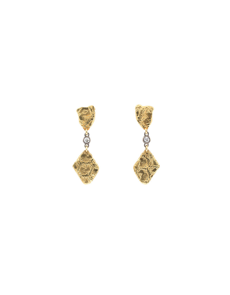 Double Dangle Trigon Earrings in 18k Yellow Gold with White Diamonds