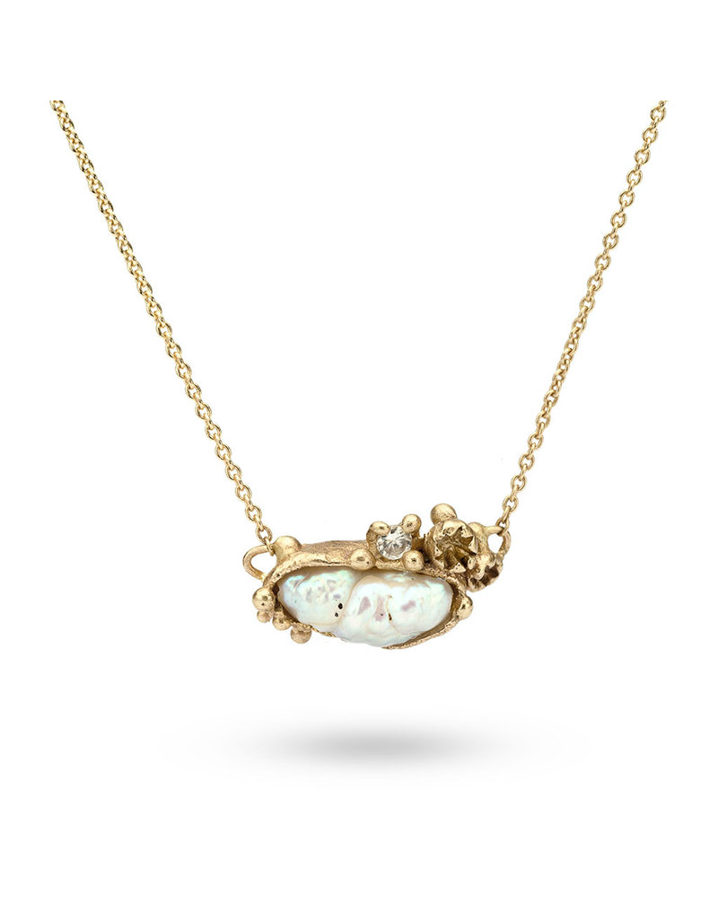 Pearl Pendant with Grey Diamonds in 14k Yellow Gold