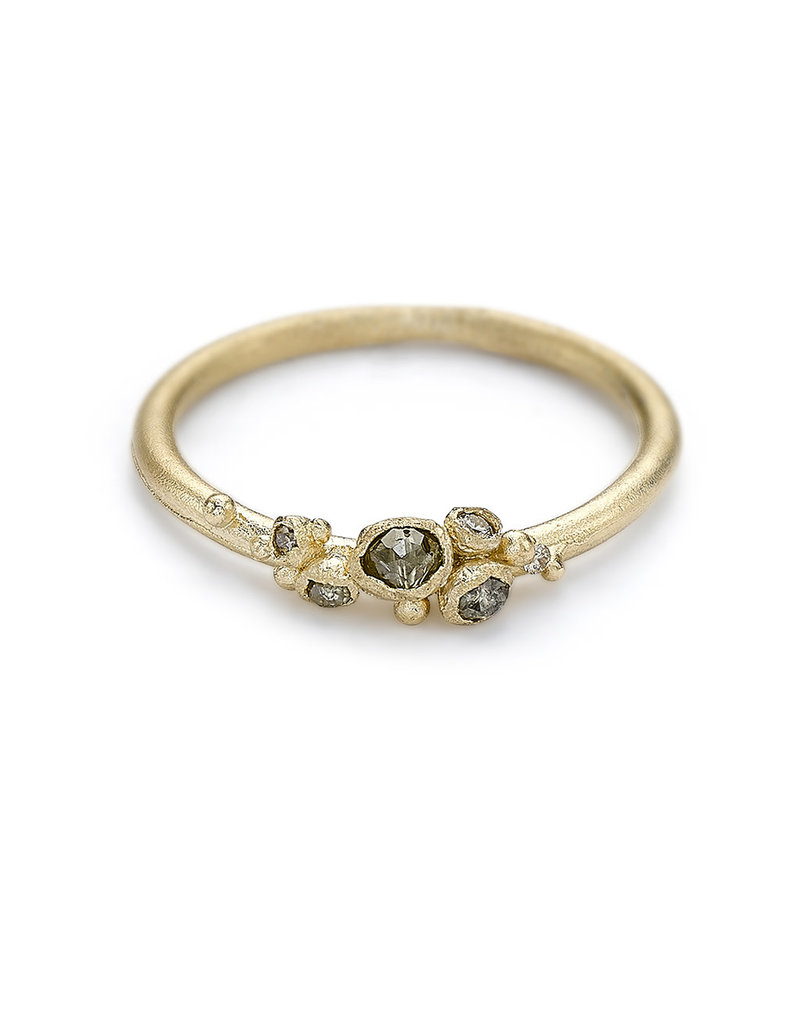 Brown Diamond Cluster Ring in 14k Yellow Gold
