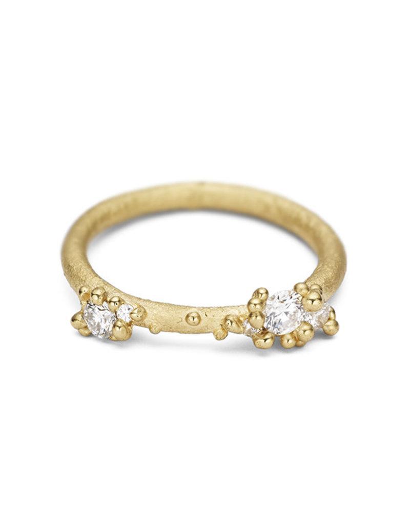 Asymmetrical Diamond Encrusted Band in 18k Yellow Gold