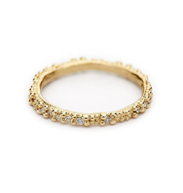 Double Beaded Band with White Diamonds in 14k Yellow Gold