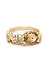 Rosecut Champagne Diamond Asymmetrical Ring in 14k Yellow Gold