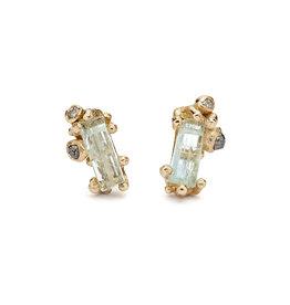 Aquamarine and Diamond Post Earrings in 14k Gold