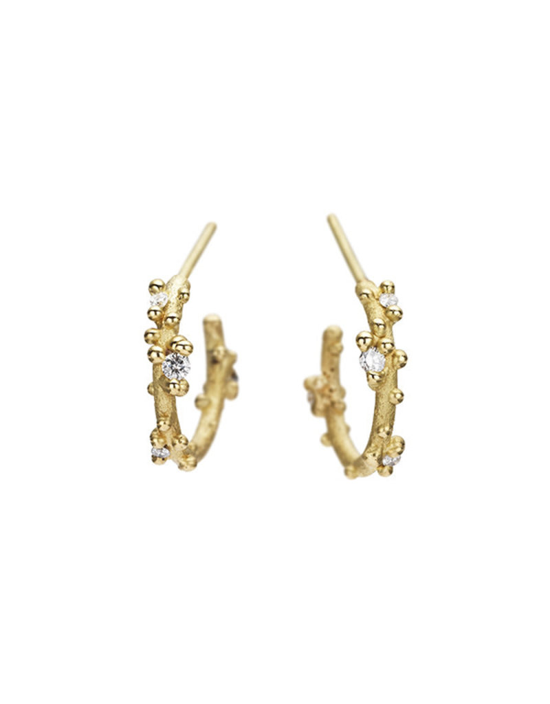 Small Diamond Encrusted Hoop Earrings in 18k Yellow Gold