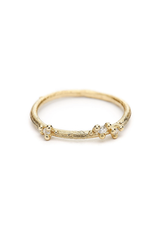 Asymmetrical Band with Diamonds & Granules in 14k Yellow Gold