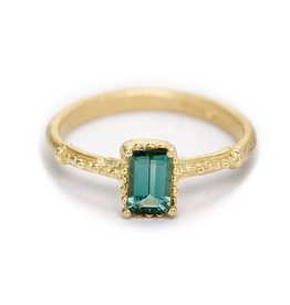Emerald Cut Tourmaline Ring with Beaded Setting in 18k Yellow Gold