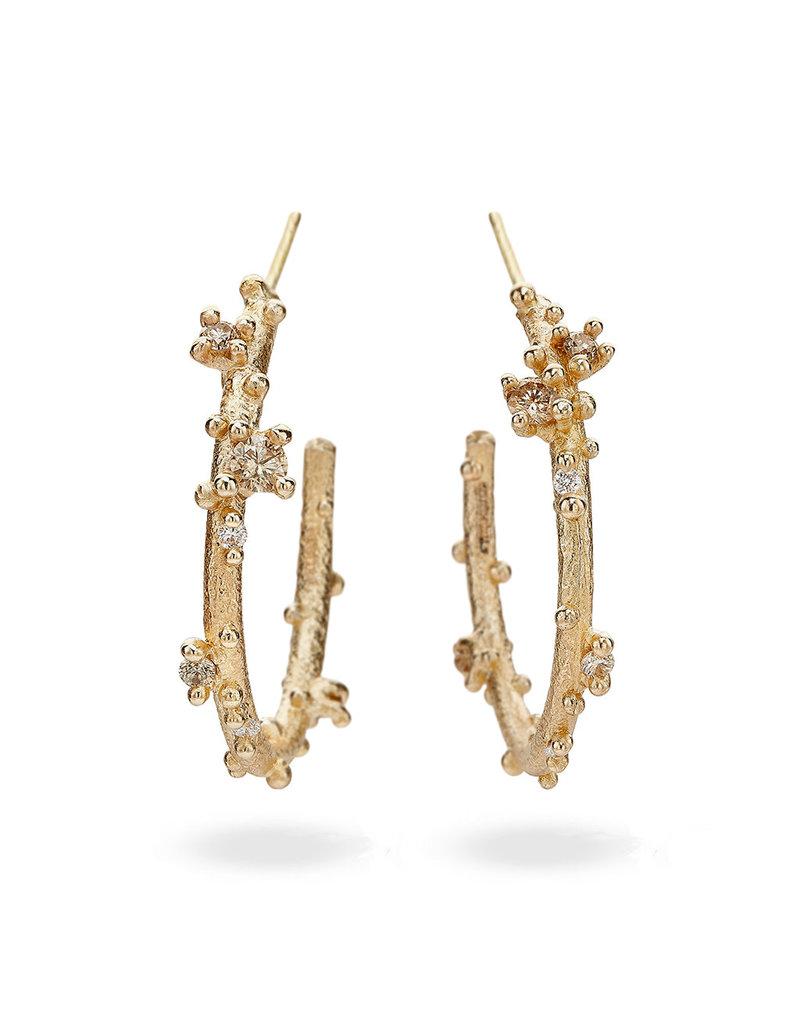 Large Champagne Encrusted Hoop Earrings in 14k Gold
