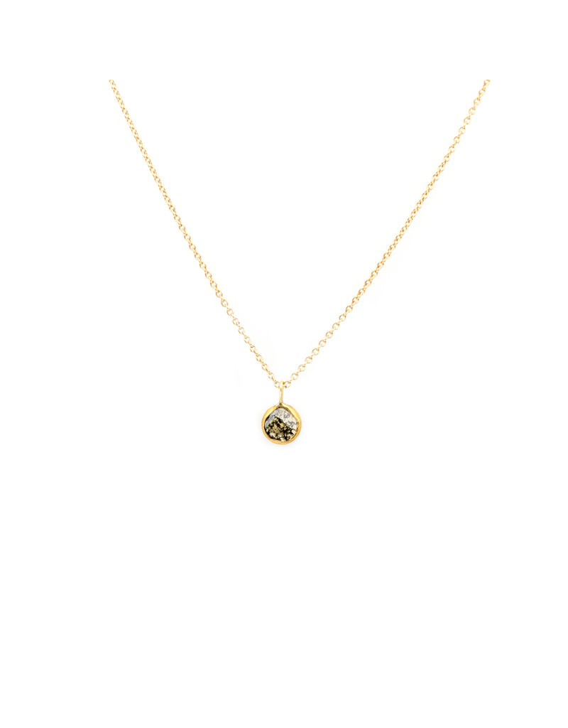 Diamond Slice Pendant in 18k Yellow Gold