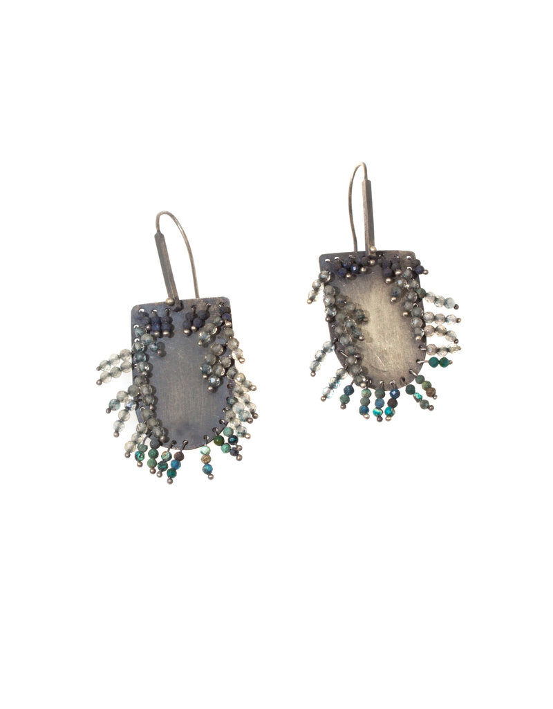 Half Oval Earrings with Turquoise Beads in Oxidized Silver