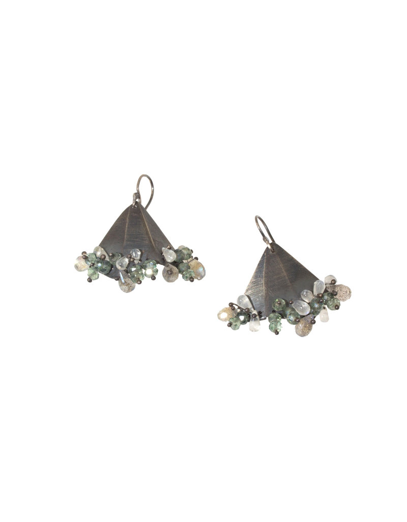 Triangle Earrings with Moonstone and Aquamarine in Oxidized Silver