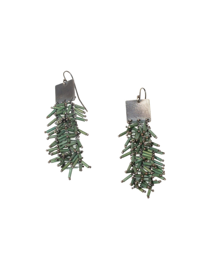 Long Square Earrings with Green Glass in Oxidized Silver