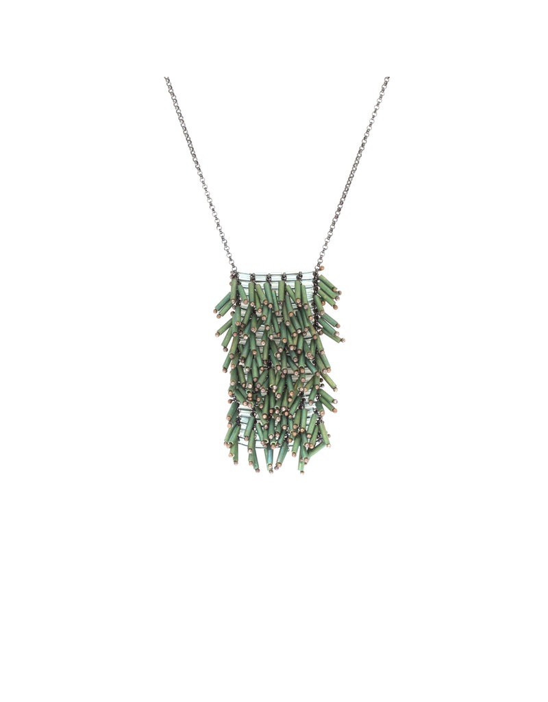 Beaded Green Glass Necklace with Grid Pattern
