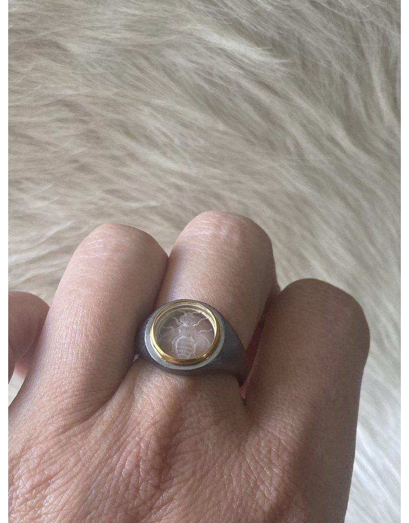 Ryan Bowen Carved Gemstone Quartz Intaglio, Bee Signet Ring in Oxidized Silver and 18k Gold Bezel