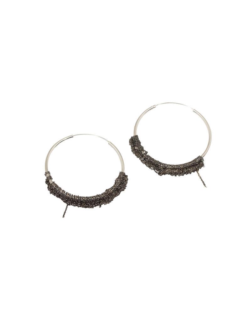 Small Circlet Hoop Earrings in Oxidized Silver