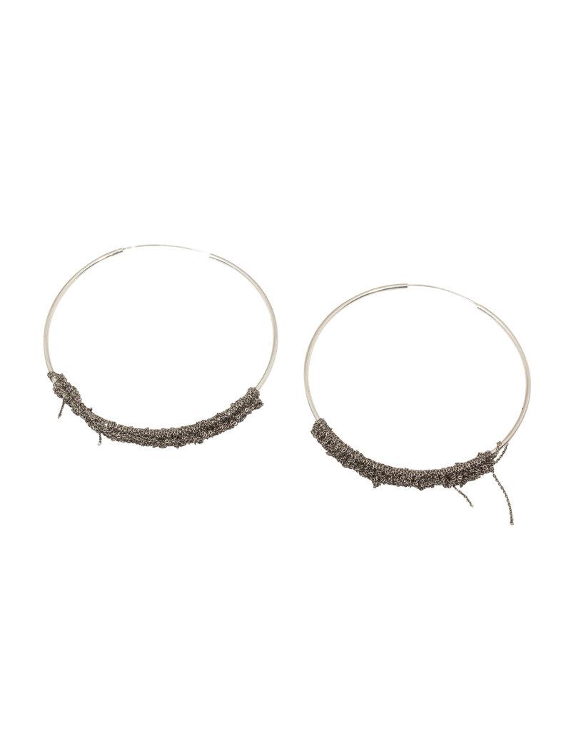 XL Circlet Hoop Earrings in Silver
