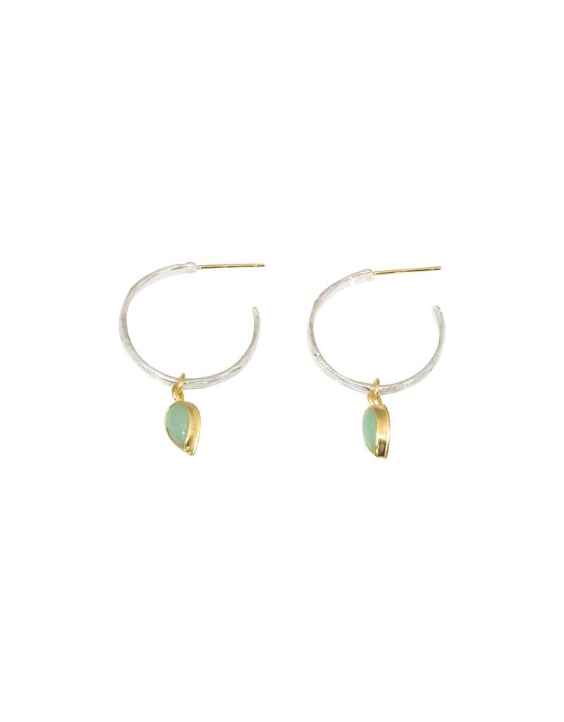 Silver Bamboo Hoop Earrings with Jade Drops