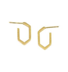 Sam Woehrmann Hexagon Hoop Earrings in 18k Yellow Gold