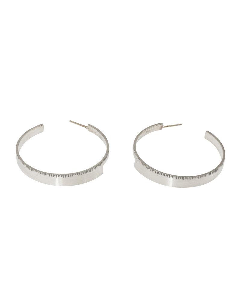 Sam Woehrmann Large Wedge Hoop Earrings in Silver