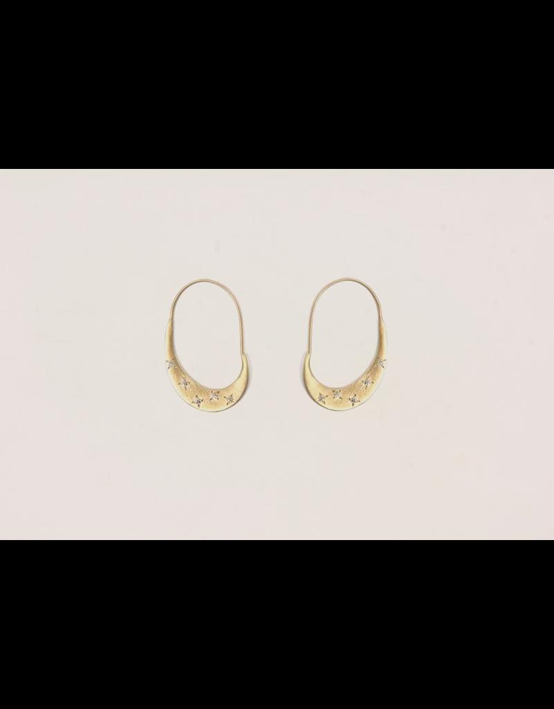 Lisa Ziff Crescent Hoop Earrings with Diamonds in 10k Yellow Gold