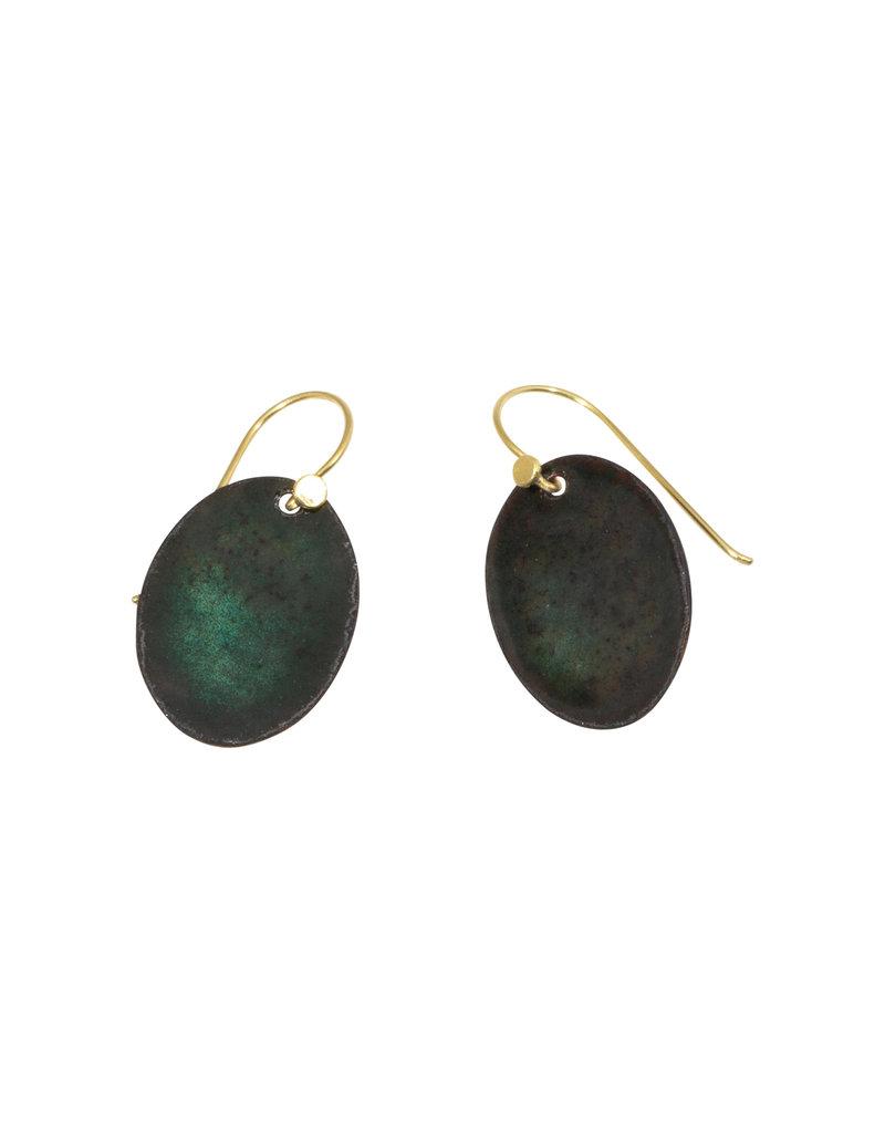 Oval Enamel Earrings with 18k Gold