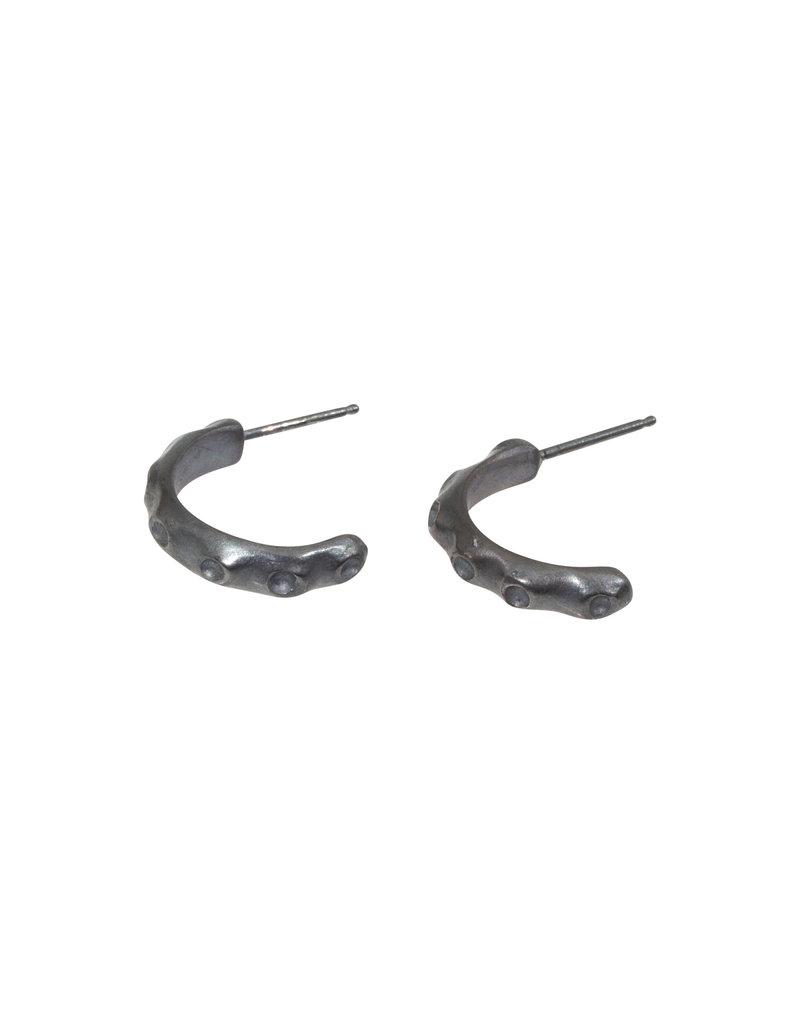 Barnacle Hoop Earrings in Oxidized Silver