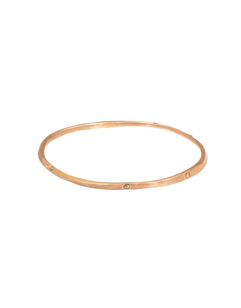 Oval Hammered Twist Bangle in 18k Rose Gold with 5 Rose Cut Diamonds