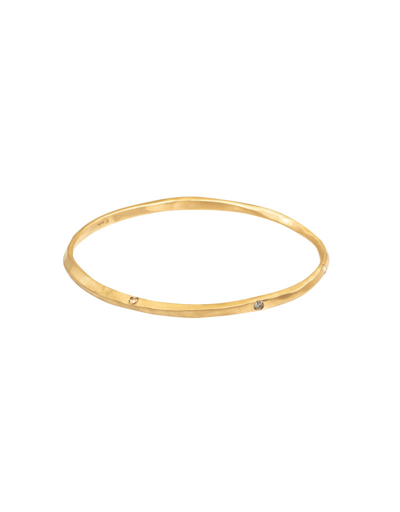 Oval Hammered Twist Bangle in 18k Rose Yellow Gold with 5 Rosecut Diamonds