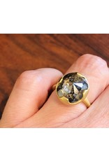 Salt & Pepper Rosecut Diamond Ring in 18k Yellow Gold