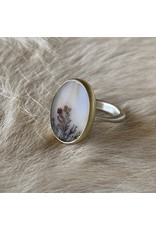 Picture Agate Ring in Silver & 18k Yellow Gold