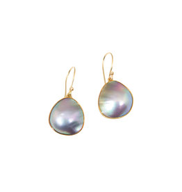 Mabe Pearl Earrings in 18k Yellow Gold and Oxidized Silver