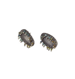 Oval Post Earrings in Oxidized Silver with Tourmaline Beads