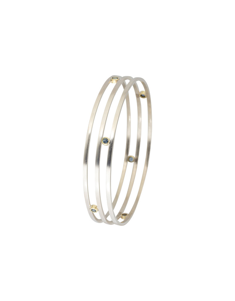 Sam Woehrmann Triple Row Bangle with Sapphires in Silver & 18k Yellow Gold