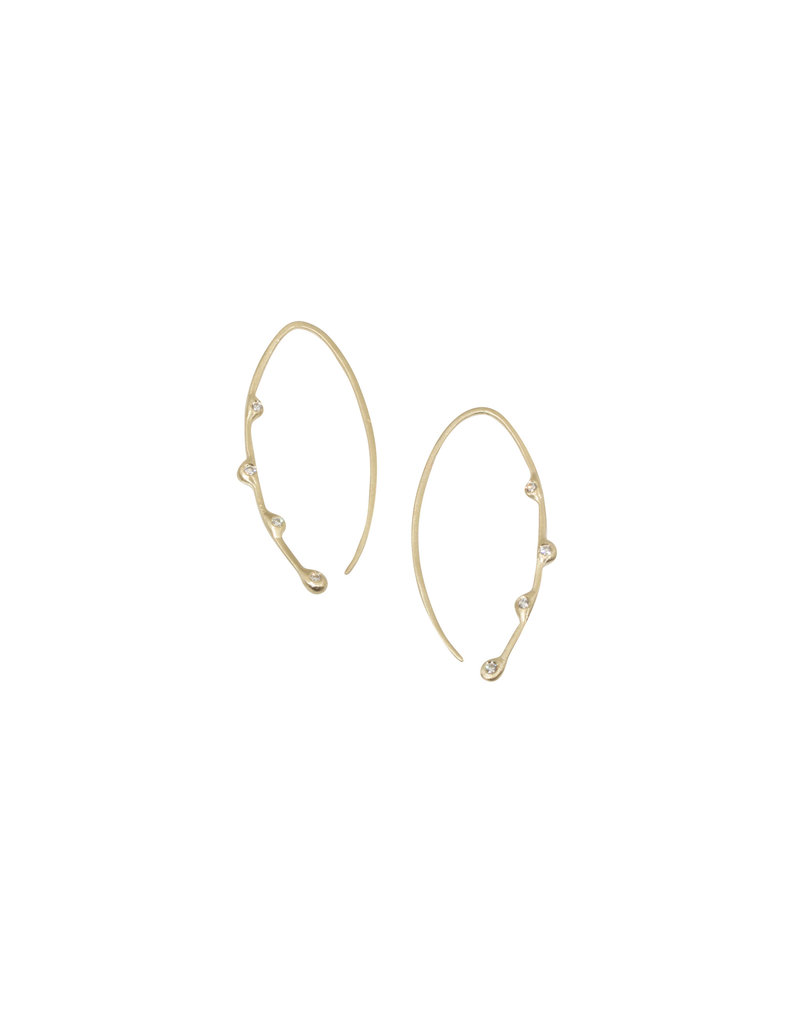 Lisa Ziff Willow Earrings with Diamonds in 10k Yellow Gold