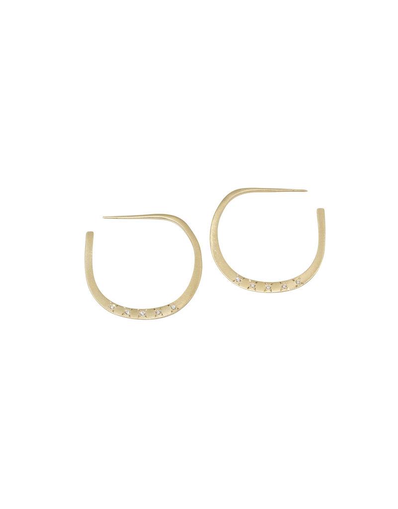 Lisa Ziff Trace Hoop Earrings with Diamonds in 10k Yellow Gold