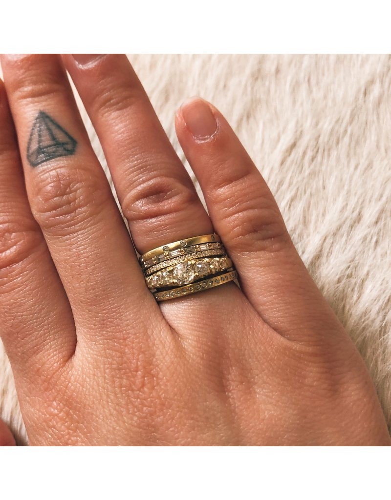 Seven Old Mine Cut Diamond Halo Ring in 18k Gold