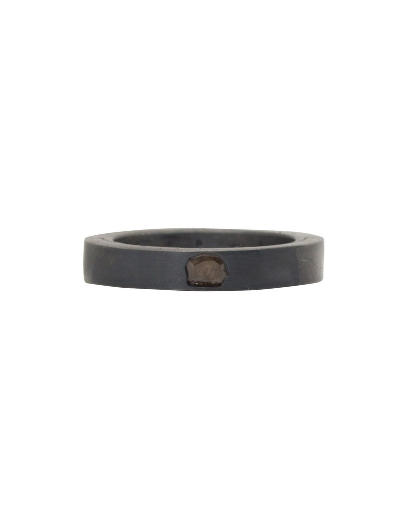 Parts of Four Narrow Sistema Ring with Diamond Slab in Oxidized Silver